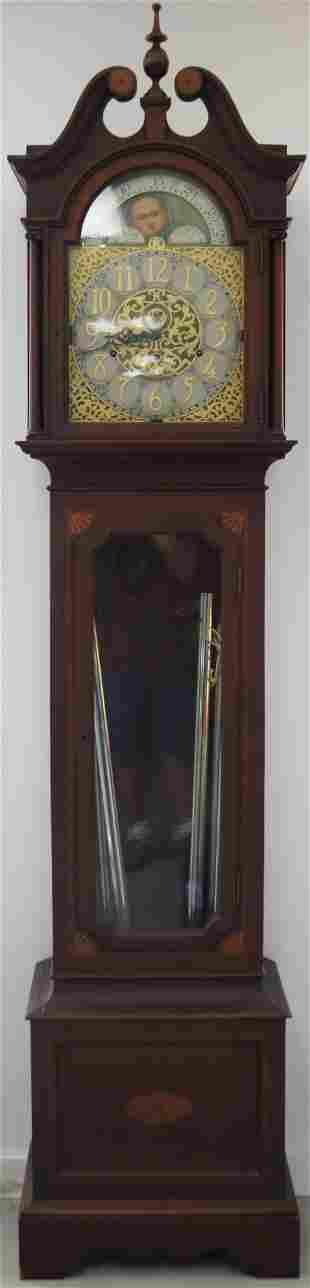 EARLY 20TH C. INLAID MAHOGANY GRANDFATHER CLOCK