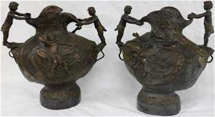PAIR OF LATE 20TH C. BRONZE URNS WITH FIGURAL