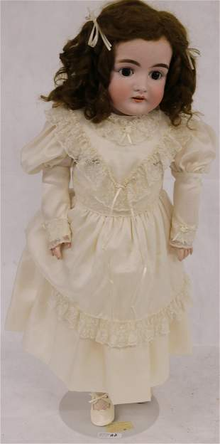 """28"""" GERMAN BISQUE HEAD DOLL, COMPOSITION BODY,"""