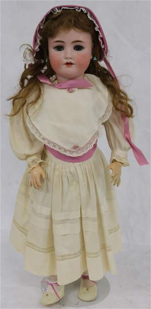 """31"""" GERMAN BISQUE HEAD DOLL, JOINTED COMPOSITION"""
