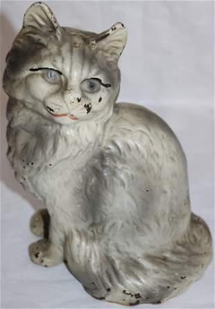 CAST IRON HOLLOW BODY CAT DOOR STOP, ORIGINAL