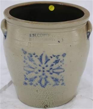 BLUE DECORATED STONEWARE CROCK, F.H. COWDEN