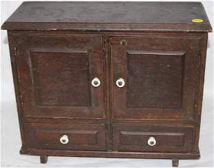SMALL 19TH C. CHILD'S GRAIN PAINTED CUPBOARD, 2