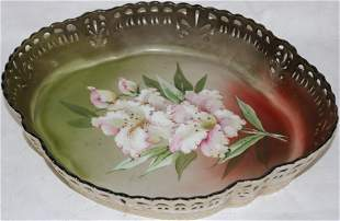 PAIRPOINT LIMOGES PORCELAIN TRAY, PIERCED BORDER,