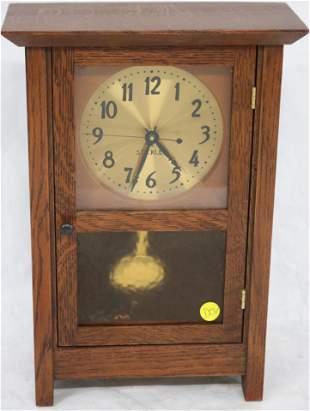 STICKLEY OAK SHELF CLOCK, ORIGINAL FINISH,
