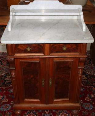 EUROPEAN WALNUT MARBLE TOP WASHSTAND WITH