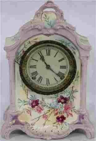 ANSONIA PORCELAIN SHELF CLOCK WITH ROYAL BON