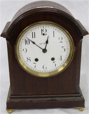 SETH THOMAS MAHOGANY BRACKET CLOCK, ENAMEL DIAL,