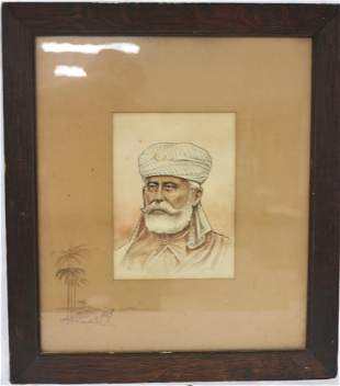 WATERCOLOR BUST OF A SULTAN WITH DESERT DRAWING