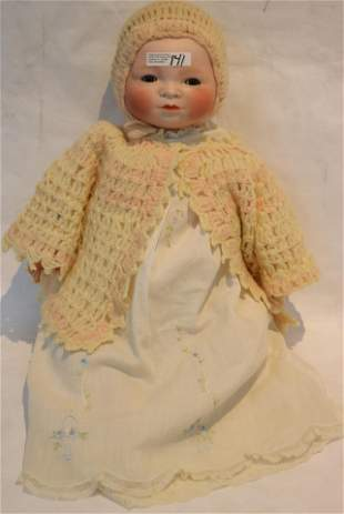 GERMAN BISQUE BABY DOLL BY GRACE PUTNAM, CLOTH