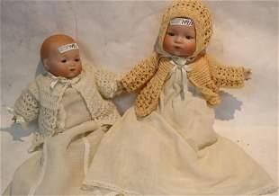 2 ARMAND MARSEILLE BISQUE HEAD BABY DOLLS, CLOTH
