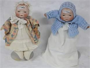 2 GRACE PUTNAM BISQUE HEAD BABY DOLLS, APPROX.