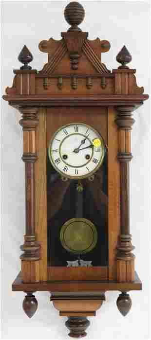 GERMAN WALNUT WALL CLOCK, SHOULD BE WORKING,