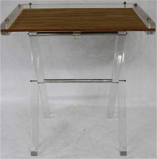 MID-CENTURY MODERN LUCITE & WOOD TRAY TOP DESK BY
