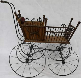 VICTORIAN WOOD, WICKER & IRON DOLL CARRIAGE,