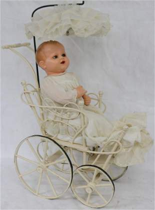 VICTORIAN CHILD'S WHITE PAINTED WOOD & WICKER