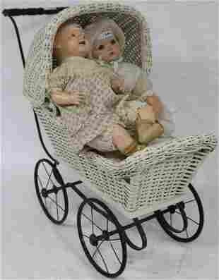 1920S WHITE PAINTED WICKER DOLL CARRIAGE WITH 2