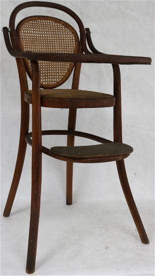 SIGNED THONET BENTWOOD HIGH CHAIR WITH TRAY, CANE