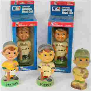 COLLECTION OF 5 BOBBLE HEAD DOLLS, RED SOX (2) &