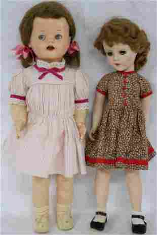 """2 EARLY PLASTIC WALKING DOLLS, 20"""" AND 22"""" H"""