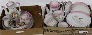 2 BOXES PINK TRIM CHILDREN'S DISHES TO INCLUDE