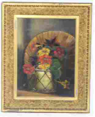 19TH C. OIL ON CANVAS STILL LIFE OF FLOWERS,