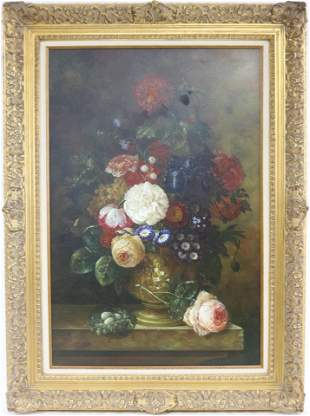 CONTEMPORARY OIL ON CANVAS, STILL LIFE OF