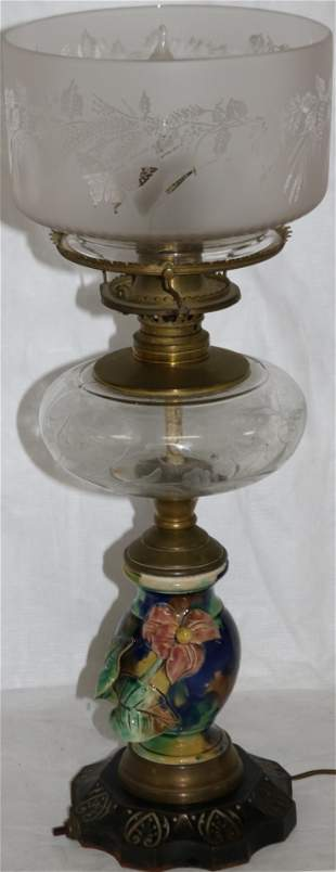 ELECTRIFIED 19TH C. FLUID LAMP, ETCHED SHADE,