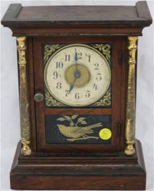 SMALL 19TH C. SHELF CLOCK BY WELSCH, REVERSE