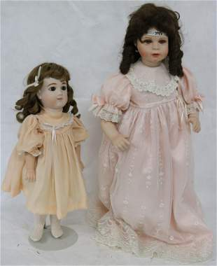 2 REPRODUCTION BISQUE HEAD DOLLS TO INCLUDE E.J.