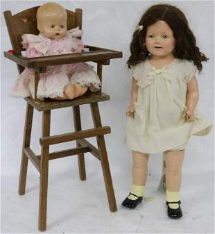 """3 PC. LOT TO INCLUDE COMPOSITION BABY DOLL 15"""" H,"""