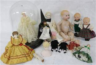 LOT OF REPRODUCTION DOLLS, BISQUE HEADS, 1 UNDER
