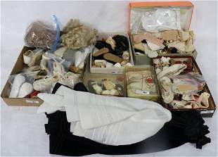 LARGE COLLECTION OF DOLL'S SHOES, SOCKS, WIGS,