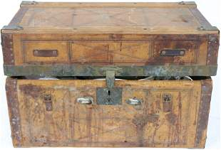 19TH C. WOOD & LEATHER DOLL TRUNK & CONTENTS,