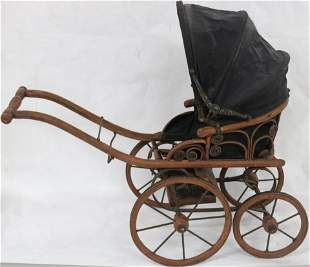 SMALL REPRODUCTION DOLL CARRIAGE, WICKER & WOOD,