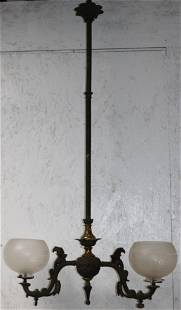 19TH C. TWO LIGHT GAS CHANDELIER, NOT