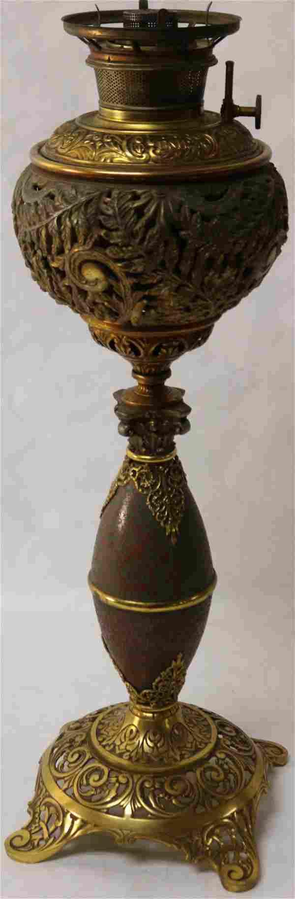 ORNATE B & H BANQUET LAMP, ORNATE LEAF & SCROLL