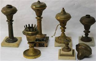 COLLECTION OF SIX 19TH C. ASTRO LAMP BASES, 5