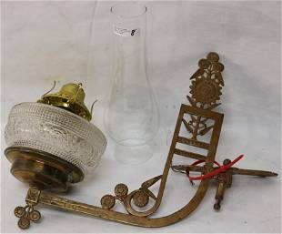 19TH C. EAST LAKE BRASS BRACKET LAMP WITH GLASS