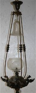 LATE 19TH C. HANGING GAS LIGHT ELECTRIFIED, BRASS