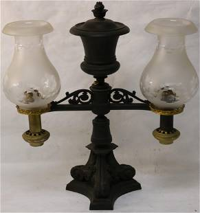 19TH C. DOUBLE ARGAND LAMP WITH LATER CUT &