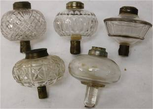 COLLECTION OF 5 CLEAR GLASS PEG LAMPS, PRESSED &