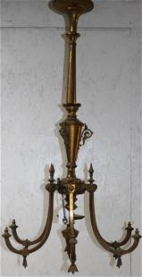 19TH C. 6 ARM BRASS, GAS CHANDELIER, APPEARS TO