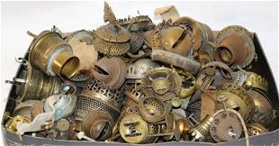 LARGE COLLECTION OF BRASS & TIN BURNER PARTS &