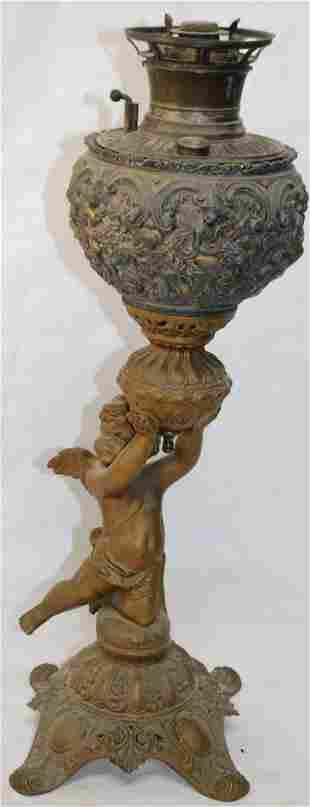 19TH C. B&H BANQUET LAMP WITH CHERUB, ONE