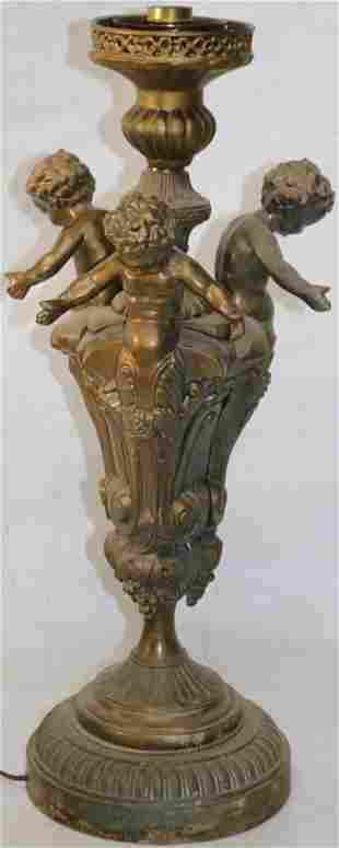 """20TH C. TABLE LAMP WITH 3 CHERUBS, NO SHADE, 23"""" H"""