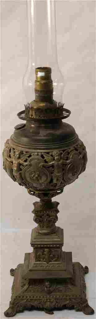 19TH C. ELECTRIFIED BANQUET LAMP, BRADLEY &