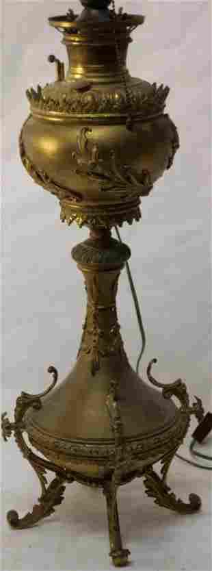 LARGE B&H BANQUET LAMP, GILT DECORATION,