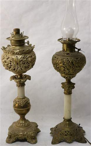 TWO 19TH C. ELECTRIFIED BANQUET LAMPS ONE