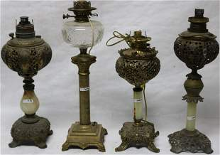 LOT OF FOUR 19TH C. BANQUET LAMPS WITH ONYX
